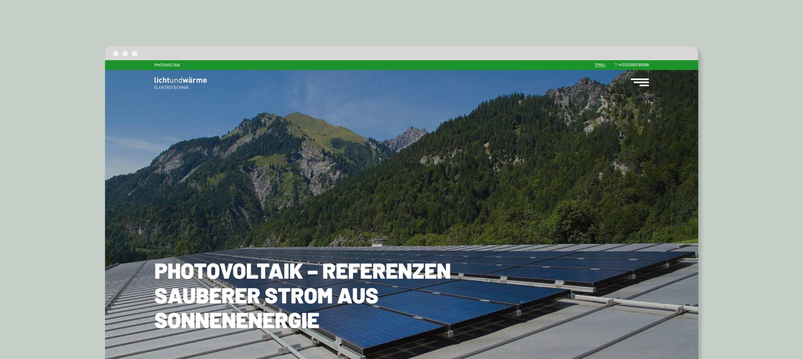 Lichtundwärme website screen design