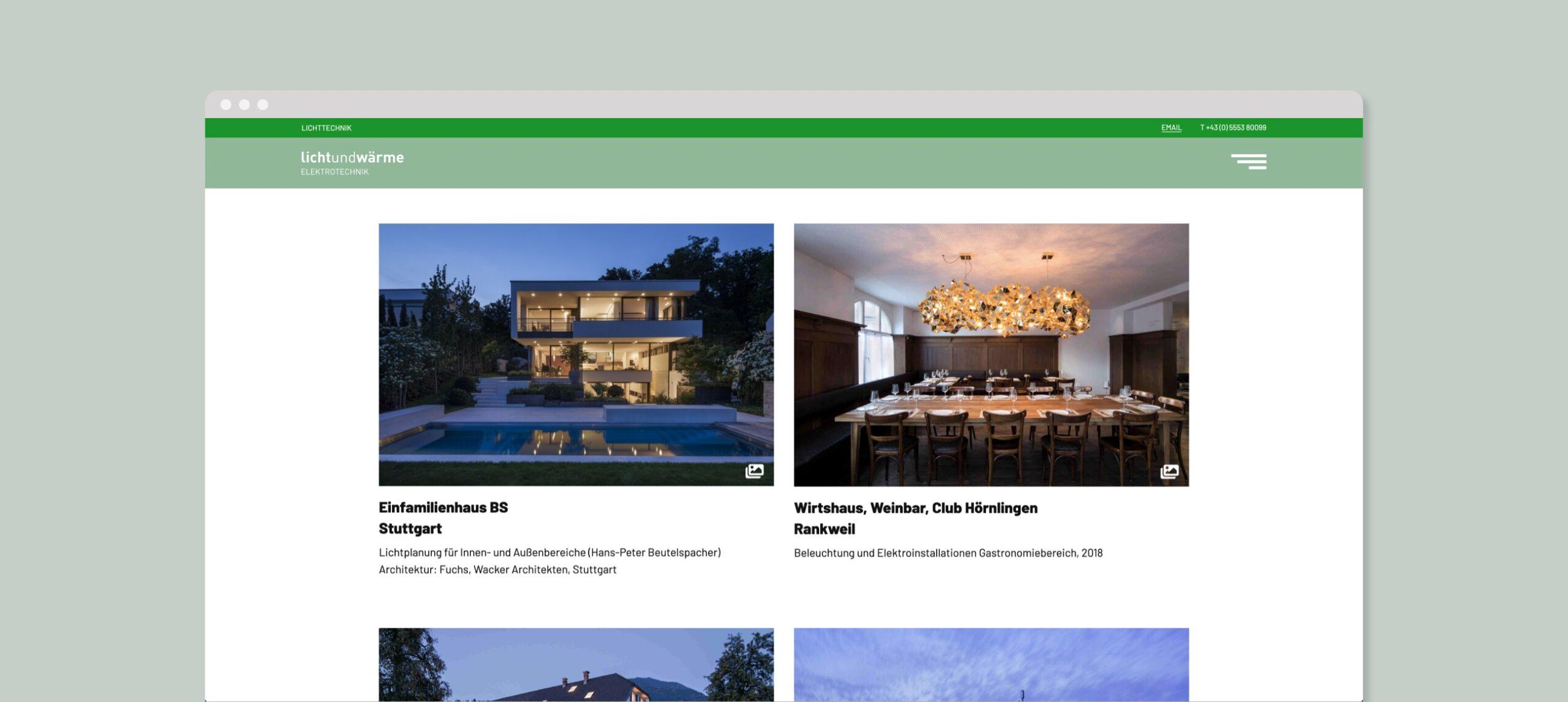 Lichtundwärme website screenshot overview