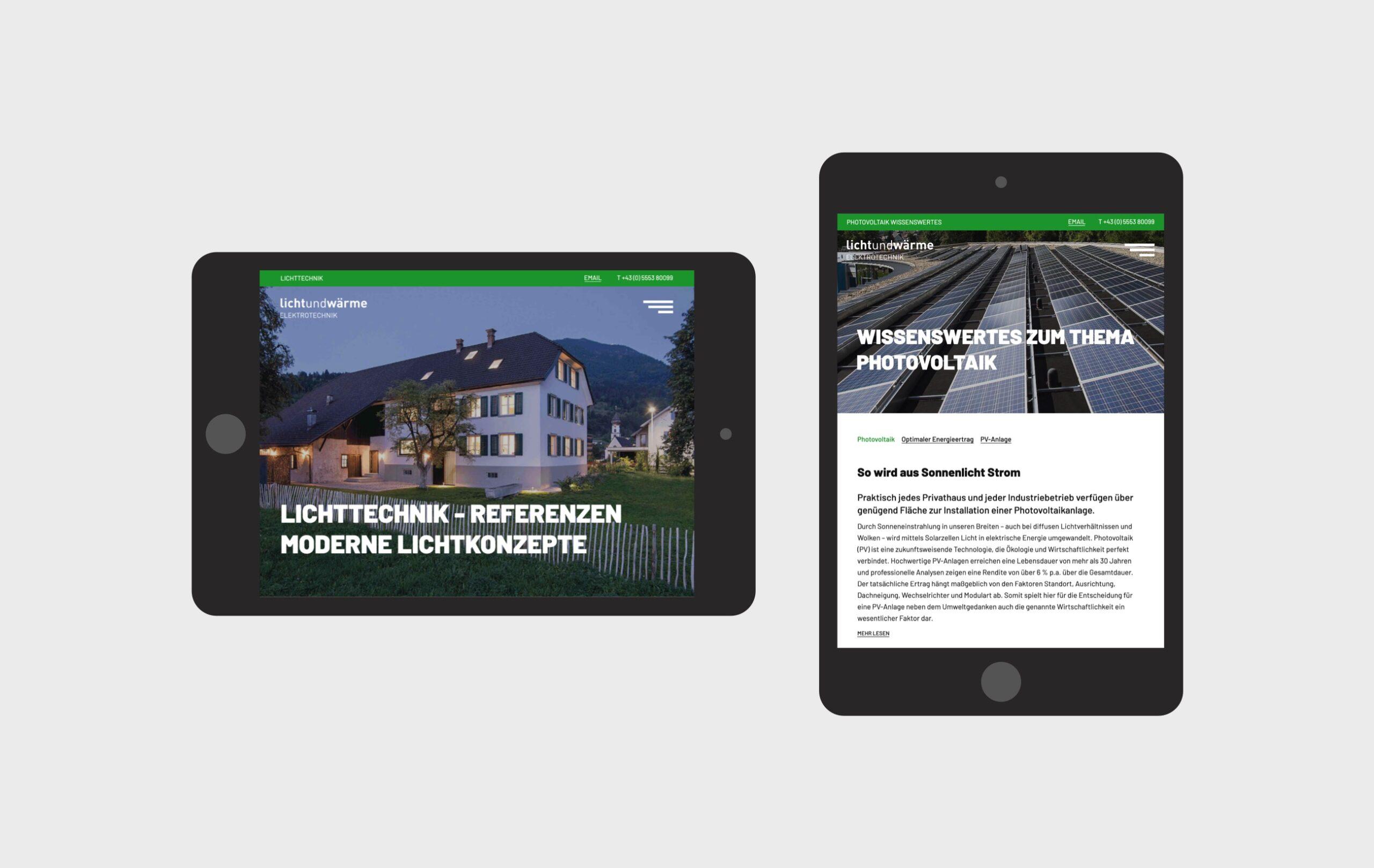 Lichtundwärme website tablet views