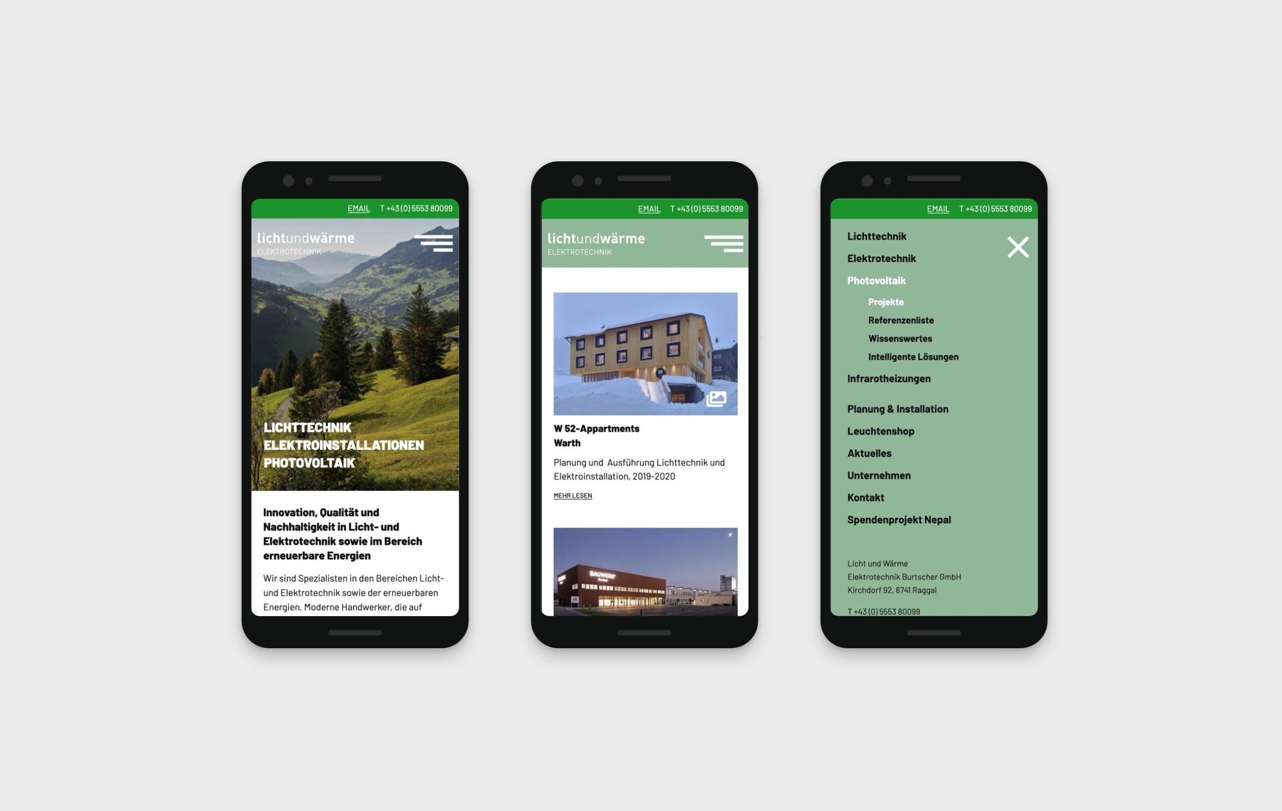 Lichtundwärme website mobile screens