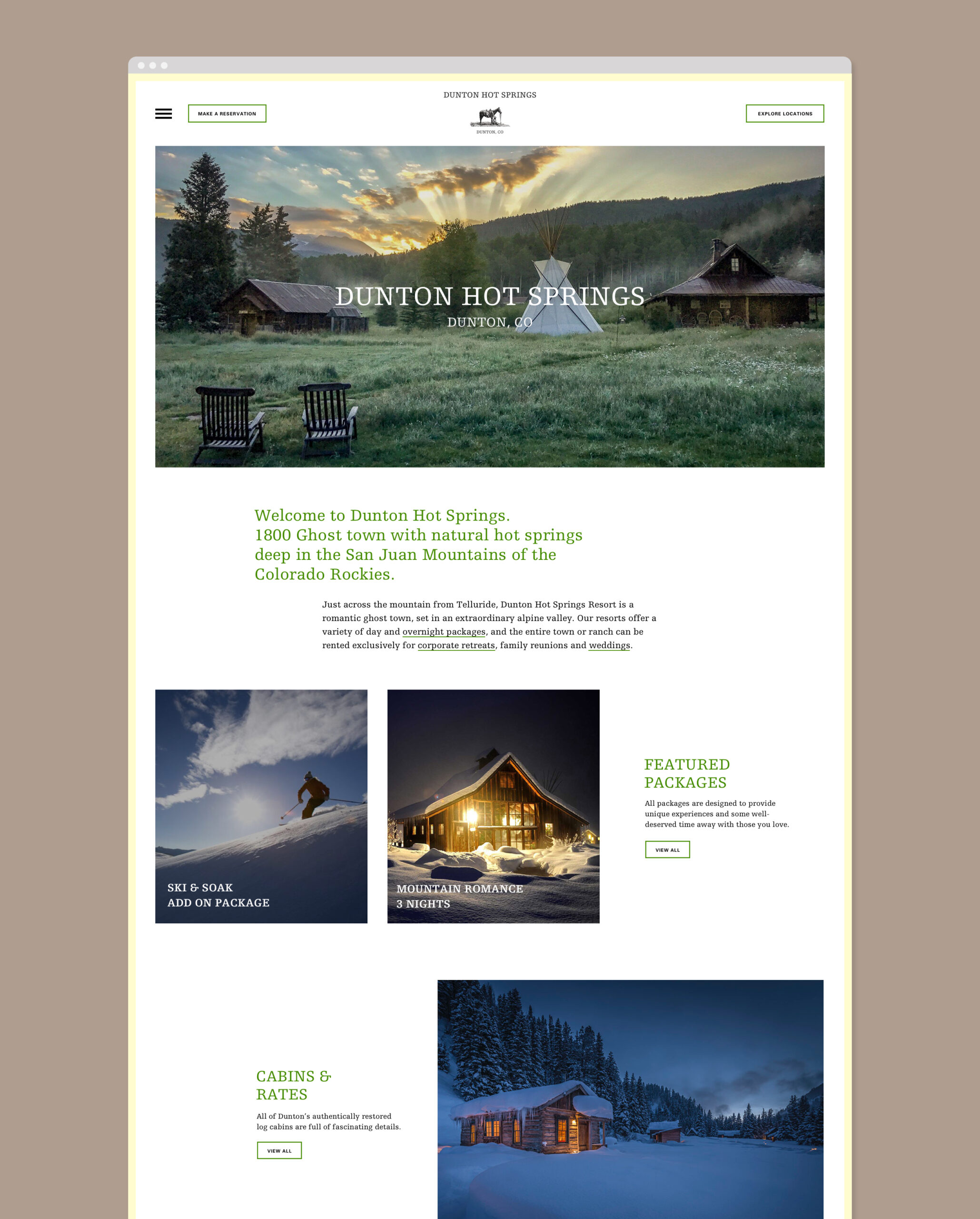 Dunton Hot Springs website design mockup