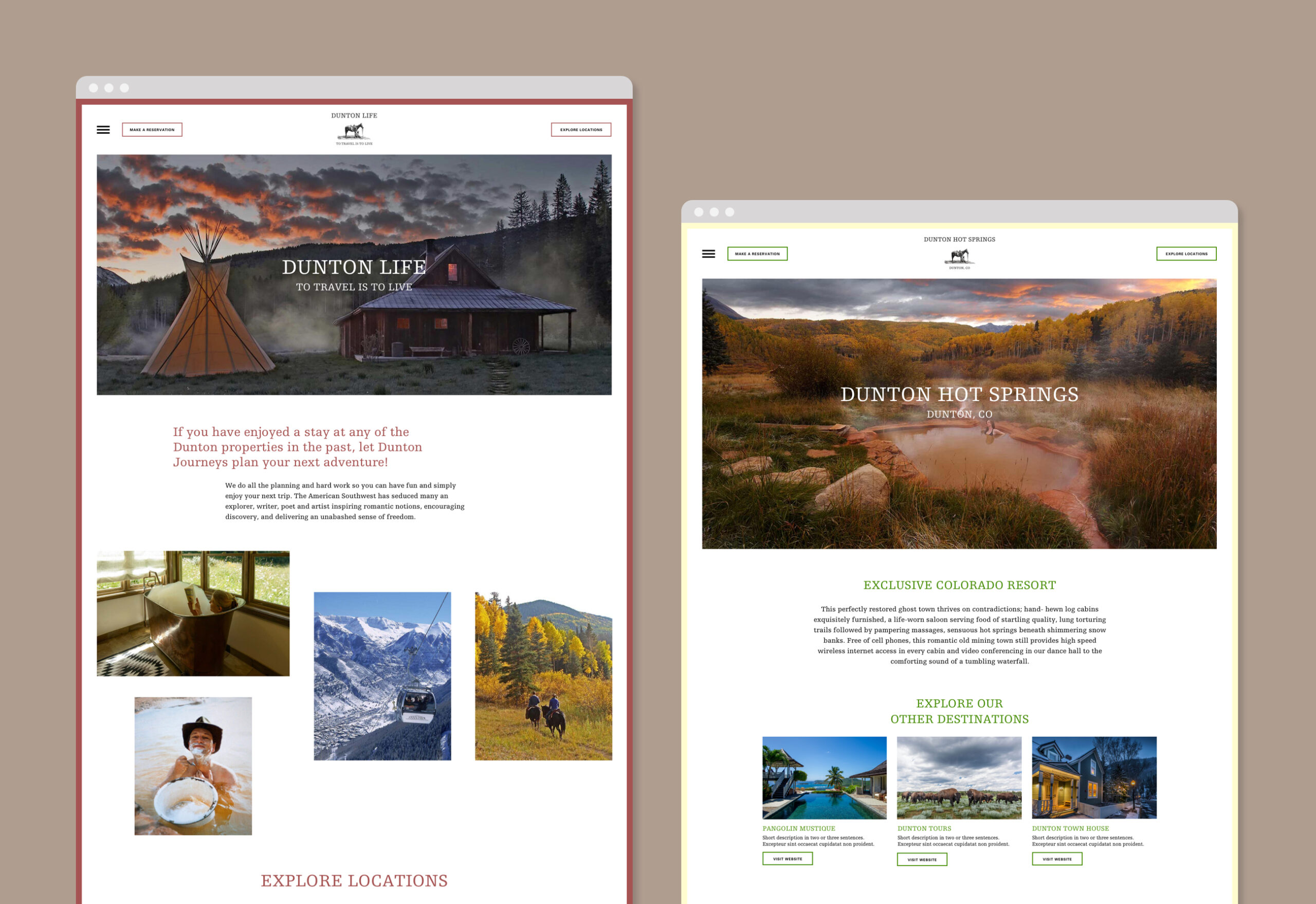 Dunton Hot Springs website screenshots