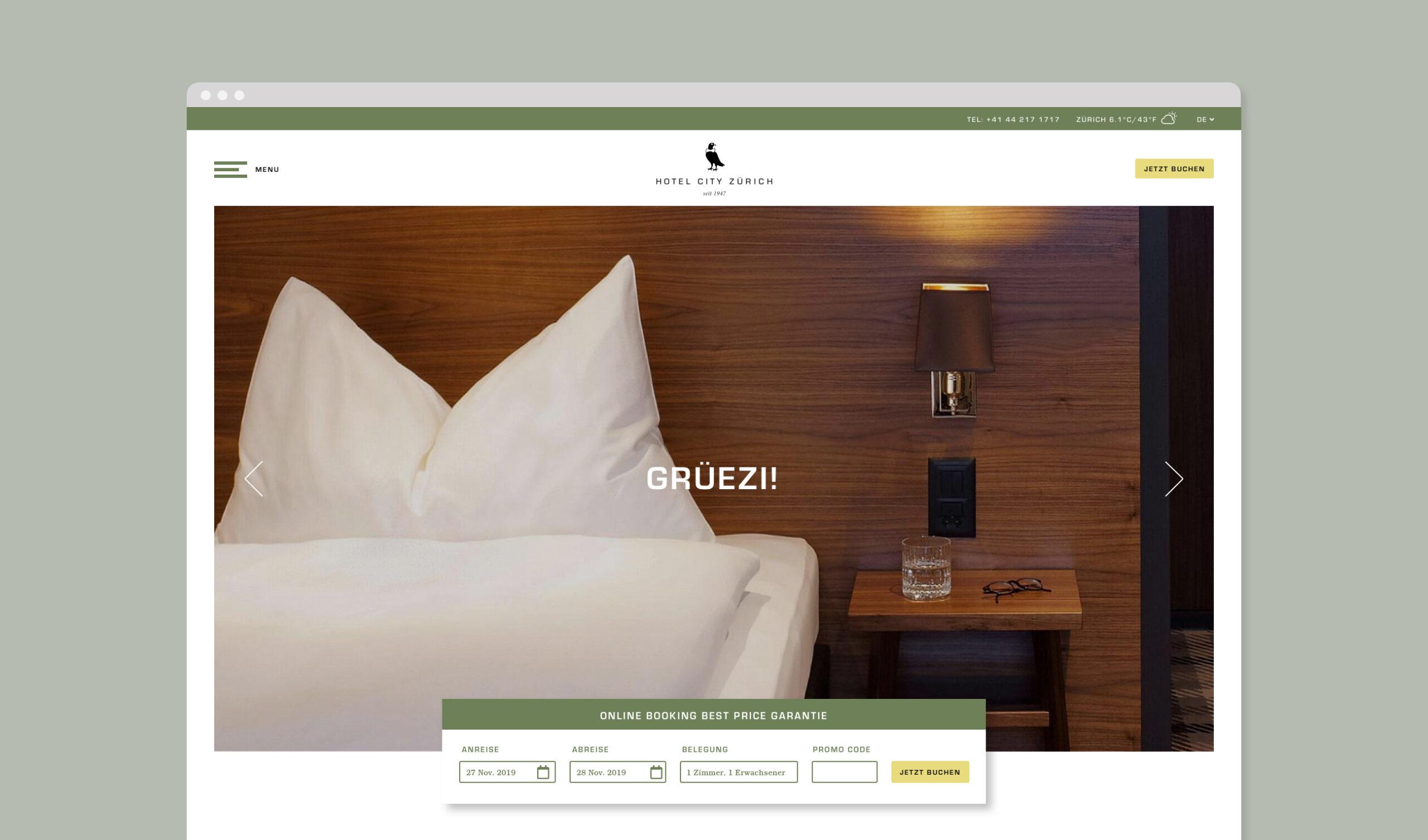 Hotel City Zurich website home screen