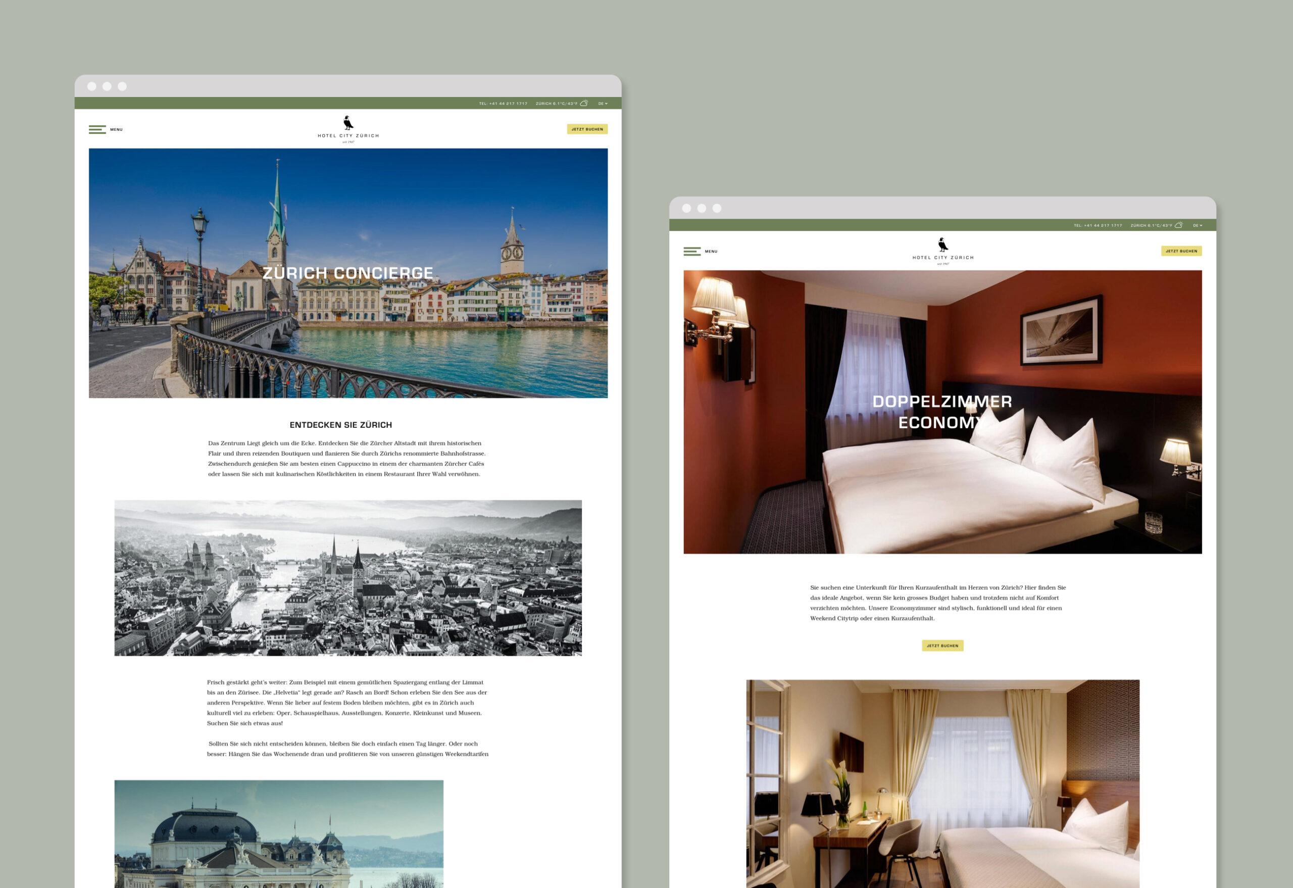 Hotel City Zurich website screenshots