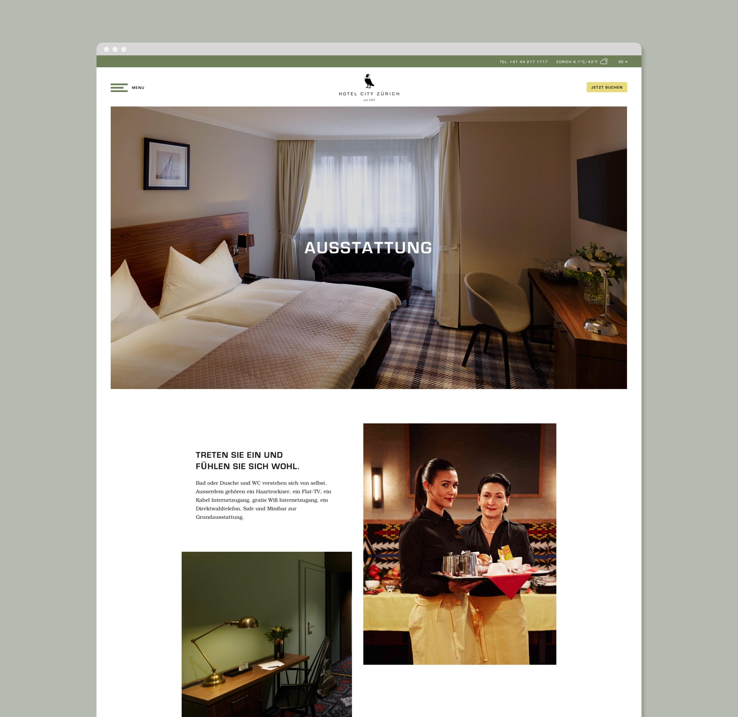 Hotel City Zurich website design amenities