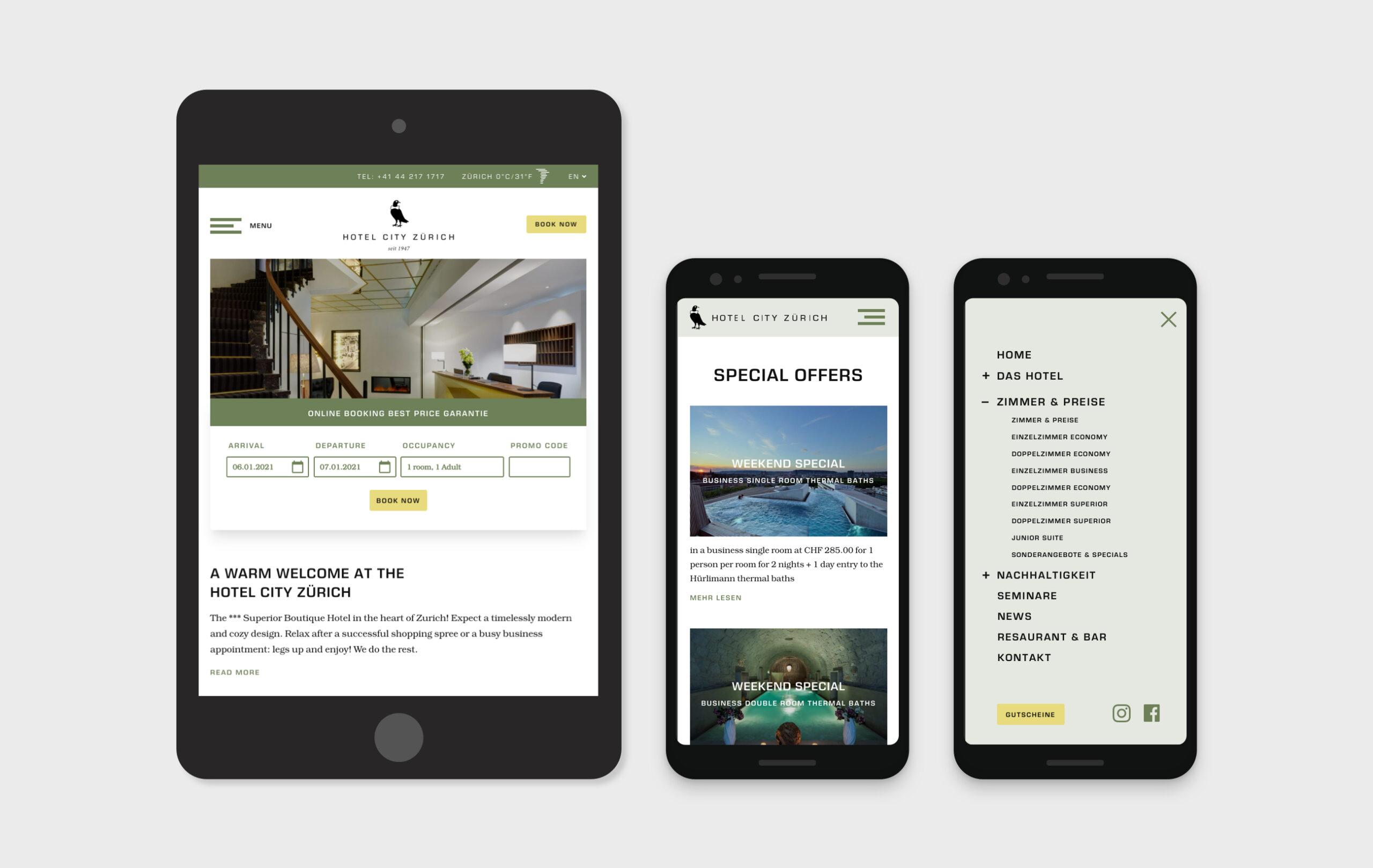 Hotel City Zurich website mobile designs