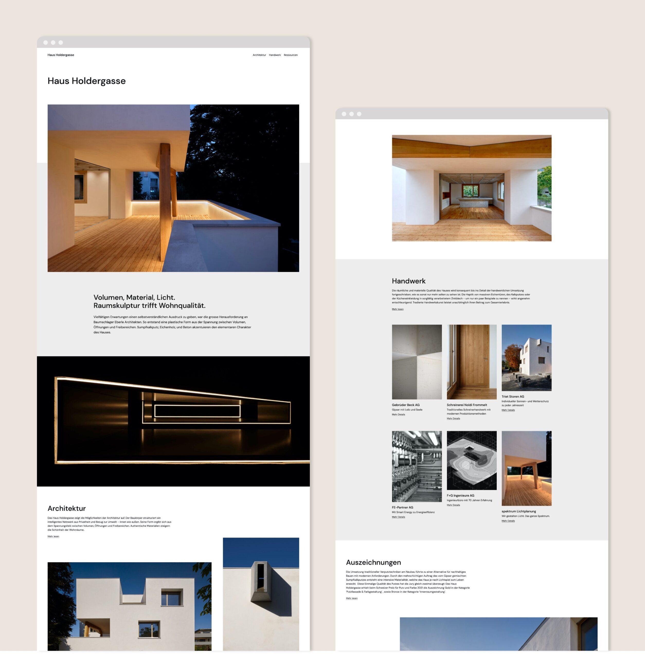 Website Haus Holdergasse Portfolio 1